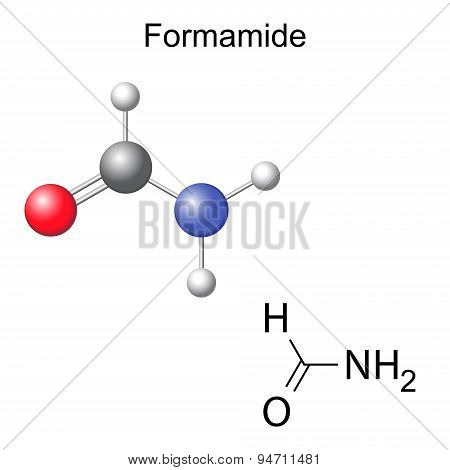 Chemical Formula And Model Of Formamide Molecule