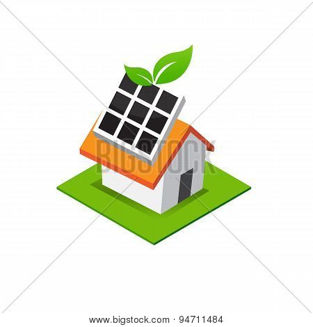 Isometric House With Solar Cell Power On Roof, Eco Home Icon Vector Illustration