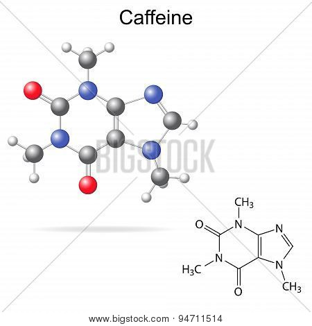 Model And Chemical Formula Of Caffeine