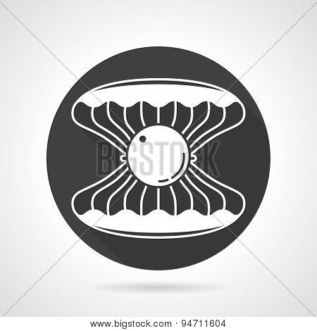 Sea shell black round vector icon