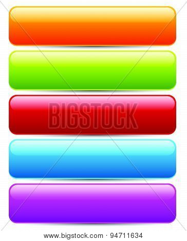 Colorful Button/banner Templates. Horizontal Bars With Blank Space For Text