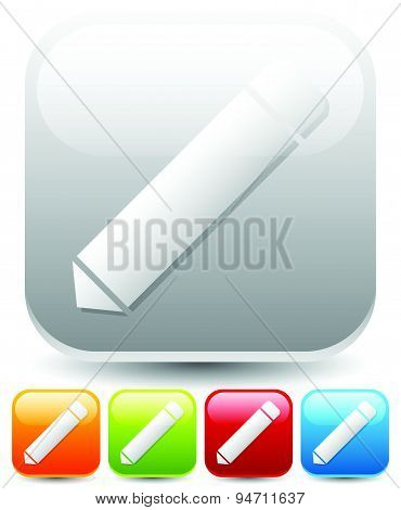 Pencil Icons. Pencil Icons With Symbols On Rounded Squares. 5 Colors.