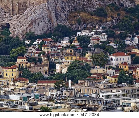Anafiotika and Plaka under Acropolis Athens Greece