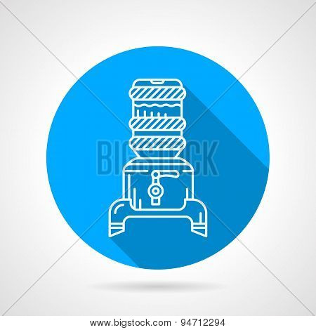 Modern water cooler blue round vector icon
