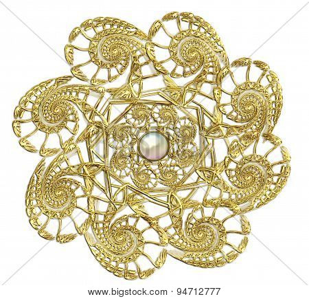 fractal  of round gold brooch with pearls