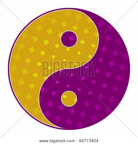 Yin Yang Symbol Purple Yellow