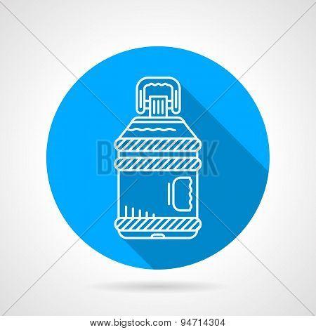 Plastic bottle blue round vector icon