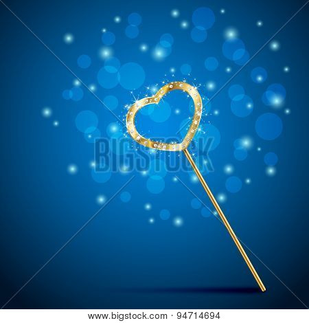 Magic Wand With Heart On Blue Background