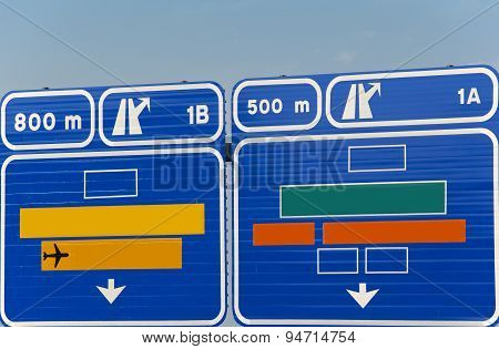 European Generic Information Road Highway Signpost In Blue Tone