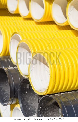 Closeup On Corrugated Pvc Pipes