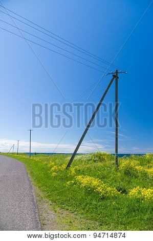 Old Wooden Electricity Post And Lines In The Countryside