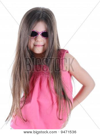 Portrait Little Long-haired Brunette In Sunglasses