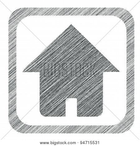 Hatched square home icon