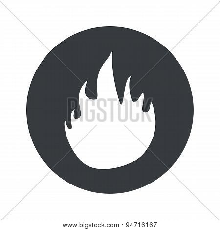 Monochrome round fire icon