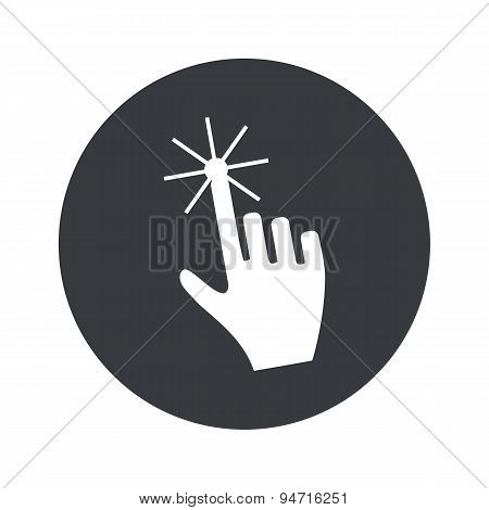 Monochrome round hand cursor icon