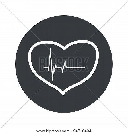 Monochrome round cardiology icon