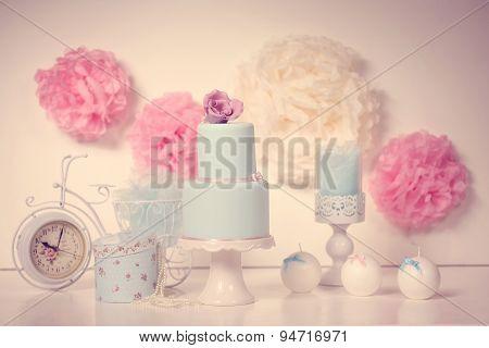 Blue Wedding Cake On A Fancy Decor