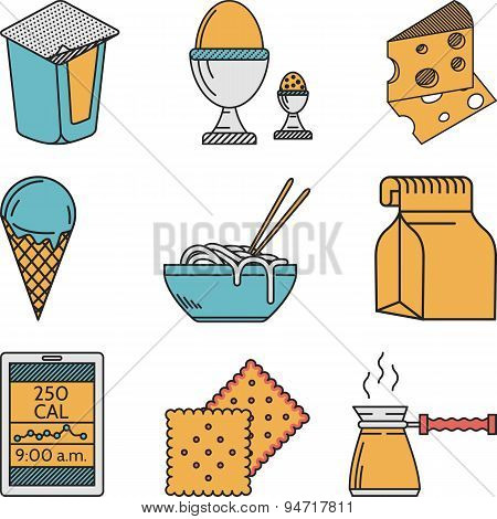 Set of colorful food vector icons