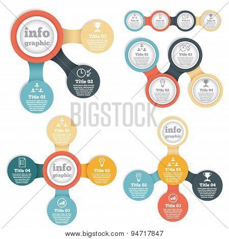 Set of business circle info graphic, diagram, presentation in steps