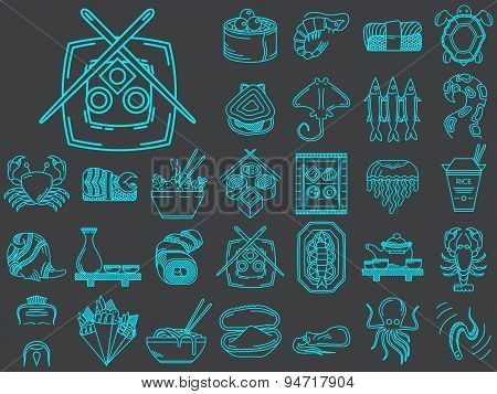 Vector collection of 30 line icons for asian food