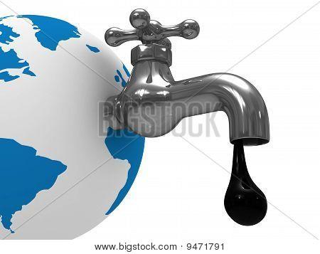 Reservas de petróleo en la tierra. Aislado de la imagen 3D