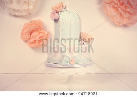 Marzipan Cake In Shape Of A Bird Cage