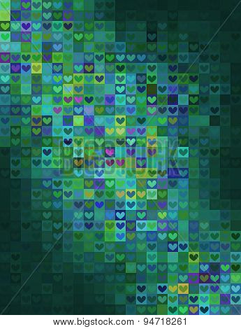 Heart Shape Mosaic In Green Spectrum