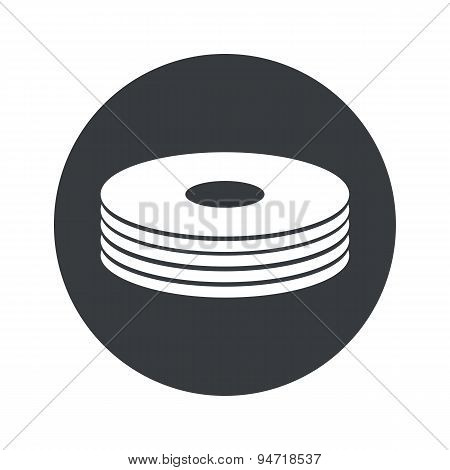 Monochrome round disc pile icon