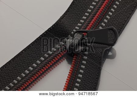Black Zipper With Red Line