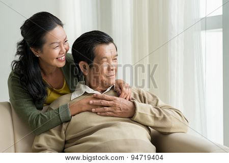 Mature Vietnamese couple at home