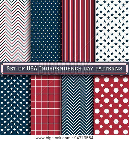 Set Of Usa Independence Day Patterns