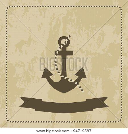 Anchor Marine On Grunge Background