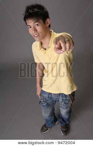 Asian Young Guy Point At You