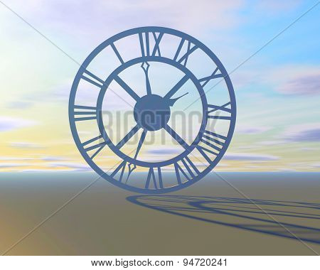 Abstract Surreal Background With Clock Time Symbol