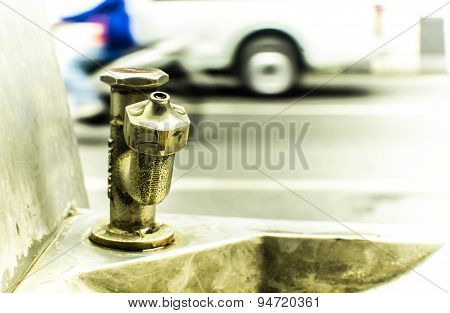 Drinking fountains along the street