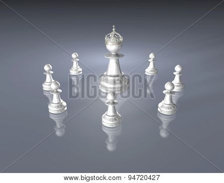 Chess Team With Chess King, Dark Blue Illustration