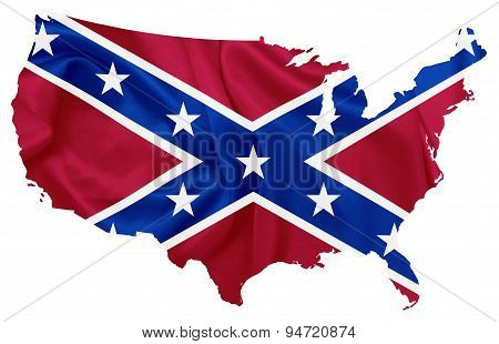 Confederate flag over U.S map contour