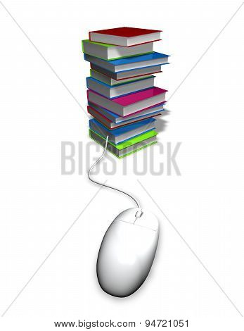 Reading Electronic Books, E Learning Abstract Illustration