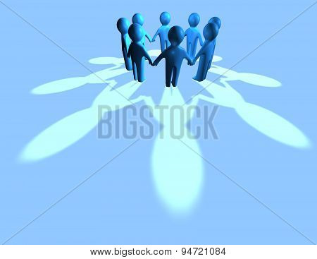 Teamwork Concept Abstract Blue Background
