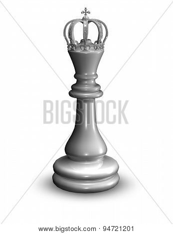 White Shiny Chess Queen Figurine