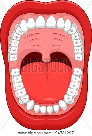 Cartoon Parts of Human mouth. Open mouth and white healthy tooth. with explaining.