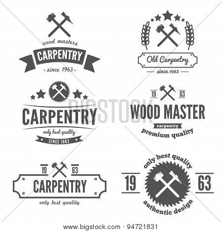 Set of logo, label, badge and logotype elements for sawmill, carpentry or woodworkers