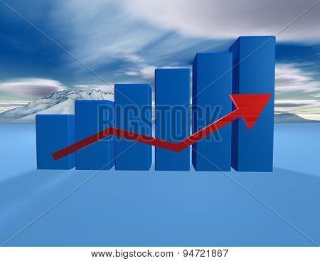 3D Dimentional Blue Graph With Cloudscape