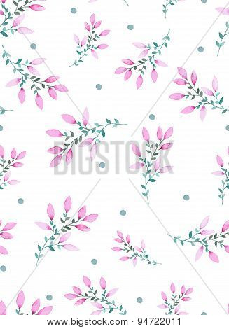 Watercolor floral seamless pattern with purple flowers.