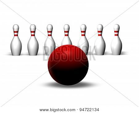 Bowling Illustration With Motion Blur, Business And Life Objectives