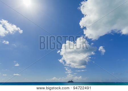 Image Of Ship Sailing In A Sunny Day