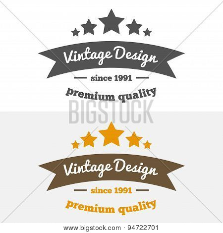 Retro Vintage Insignia or Logotype Vector design element, business sign template with stars