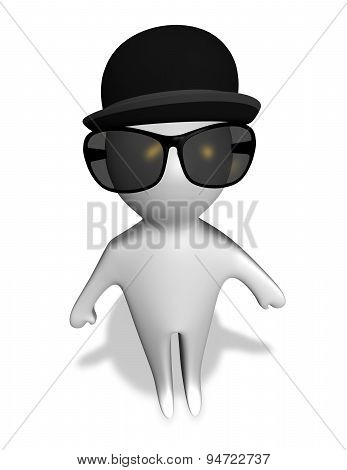 Mysterious Client, Spy, Detective Cartoon Character Making Investigation