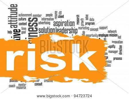 Risk Word Cloud With Yellow Banner
