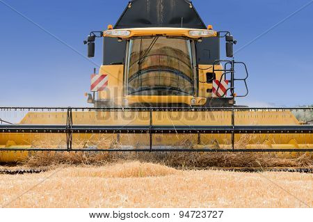 modern combine harvester in action